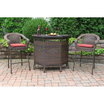 Resin Wicker  Bar Set in 4 colors - ANTIQUE BROWN