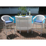 Resin Wicker  Bar Set in 4 colors - WHITE