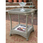 Veranda Resin Wicker End Table With Inset Glass Top - DRIFTWOOD