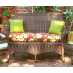 Veranda High Back Resin Wicker Love Seat - ANTIQUE BROWN-SP-3456