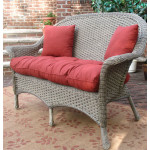Veranda High Back Resin Wicker Love Seat - DRIFTWOOD
