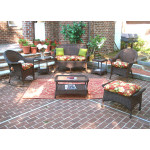 4 Piece High Back Veranda Resin Wicker Set with (2) Chairs - ANTIQUE BROWN