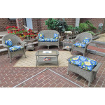 4 Piece High Back Veranda Resin Wicker Set with (2) Chairs - DRIFTWOOD