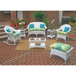4 Piece High Back Veranda Resin Wicker Set with (2) Chairs - WHITE