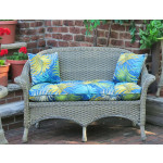 Veranda Resin Wicker Loveseat With Seat Cushion - DRIFTWOOD-SP-3766