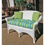 Veranda Resin Wicker Loveseat With Seat Cushion - WHITE