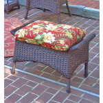 Veranda Resin Wicker Ottoman With Cushion - ANTIQUE BROWN