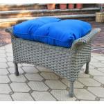 Veranda Resin Wicker Ottoman With Cushion - DRIFTWOOD