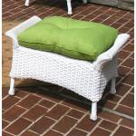 Veranda Resin Wicker Ottoman With Cushion - WHITE