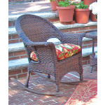 Veranda High Back Resin Wicker  Rocker - ANTIQUE BROWN