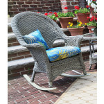 Veranda High Back Resin Wicker  Rocker - DRIFTWOOD