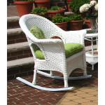 Veranda High Back Resin Wicker  Rocker - WHITE