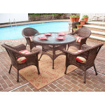 "Veranda Resin Wicker Dining Set 48"" Round - ANTIQUE BROWN"