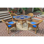 "Veranda Resin Wicker Dining Set 48"" Round - GOLDEN HONEY"
