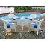 "Veranda Resin Wicker Dining Set 48"" Round - WHITE"