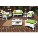 7 Piece Veranda Resin Wicker Set with 1-Rocker & 1-Chair - WHITE