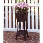 Resin Wicker Plant Stand Square with Galvanize Tin - BLACK