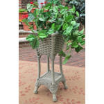 Resin Wicker Plant Stand Square with Galvanize Tin - DRIFTWOOD