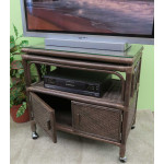 Venetian Rattan TV Stand with Swivel Top, Glass and Castors - CHARCOAL