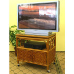 Venetian Rattan TV Stand with Swivel Top, Glass and Castors - TEAWASH