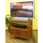 Venetian Rattan TV Stand with Swivel Top, Glass and Castors, Tea Wash - TEAWASH