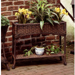 Resin Wicker Window Box Planter with Tin - ANTIQUE BROWN