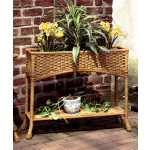 Resin Wicker Window Box Planter with Tin - GOLDEN HONEY