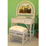 Wicker Vanity With Mirror Bench And Glass Top - WHITEWASH