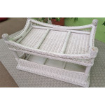 White Natural Wicker Cocktail Table, Vineyard Style -
