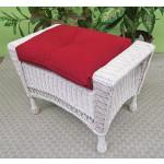 White Vineyard Wicker Bench/Ottoman with Cushion - WHITE