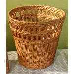 Wicker Waste Basket Circle Round - CARAMEL