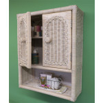 Wicker Wall Cabinet, White Wash -
