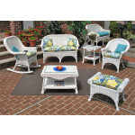 4 Piece Diamond  Natural Wicker Set  (2) Chairs - WHITE