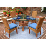 """5 Piece Wicker Dining Set, 42"""" Round, Signature Style 3 Colors - TEAWASH"""