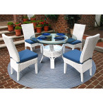 """5 Piece Wicker Dining Set, 42"""" Round, Signature Style 3 Colors - WHITE"""