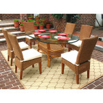 7 Piece Oval Wicker Dining Set, Signature Style, 3 Colors - TEAWASH