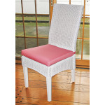 Wicker Dining Chair, Mahogany Wood Frame - WHITE
