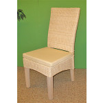 Wicker Dining Chair, Mahogany Wood Frame - WHITEWASH