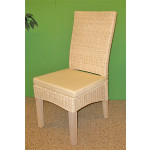 """5 Piece Wicker Dining Set, 42"""" Round, Signature Style 3 Colors - WHITEWASH"""