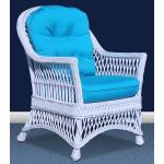 Arlington Rattan Framed Natural Wicker Chair - WHITE