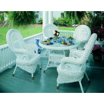 Cottage (5) Piece Woven Rattan Dining Set - WHITE