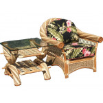Countryside Twist Rattan Framed Natural Wicker Chair - WITH END TABLE
