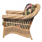 Countryside Twist Rattan Framed Natural Wicker Chair - SIDE VIEW