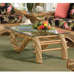Countryside Twist Rattan Framed Wicker Cocktail Table - NATURAL
