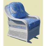 Fiji  Rattan Framed Natural Wicker Glider Chair - WHITE