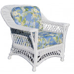 Harbor Beach Rattan Framed Natural Wicker Chair - WHITE