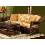 Harbor Beach Natural Wicker Sofa - COFFEE