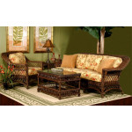 5 Piece Harbor Beach Wicker Furniture Set - BROWNWASH