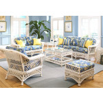 6 Piece Harbor Beach Wicker Furniture Set - WHITE
