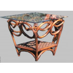 Java Twist Rattan Framed Wicker End Table  - COCOA
